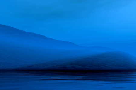 foggy: Night 3d graphics misty blue landscape - mountains