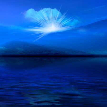 stormcloud: Night  blue landscape - ocean. misty light in skies