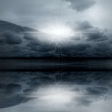 Night 3d graphics landscape -  misty light in skies Stock Photo - 8021577