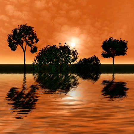 reflected: Beautiful sunrise with reflection in water and trees. 3d landscape