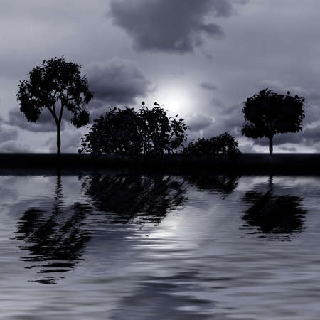 Night fantasy landscape with  trees reflected in water photo