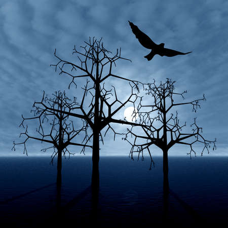 lonely bird: Fantasy landscape with trees and bird. Evening