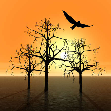 Fantasy landscape with trees and bird. Sunset photo