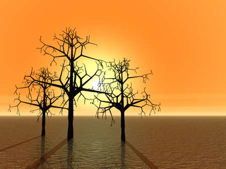 3 d graphics fantasy landscape with trees. Sunset photo