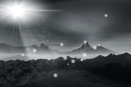3d rendering   graphics misty beautiful night landscape  photo