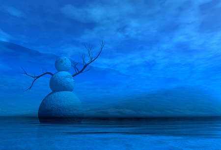 3d rendering graphics night landscape with snowmen Stock Photo - 8048519
