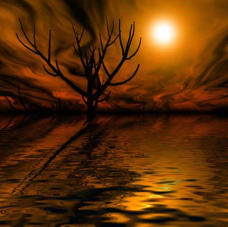 3d rendering graphics misty night landscape