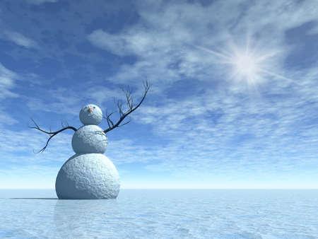 Winter landschap met sneeuw pop, 3d illustratie voor Kerst dagen