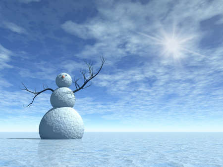 Winter scenery with snowman, 3d illustration for christmas days