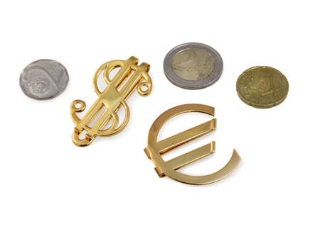 The coins euro. Bundle of bank notes  and golden signs photo