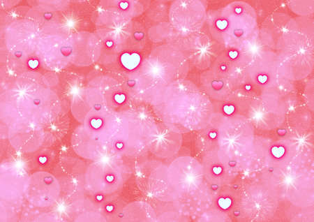 fractal pink: Abstraction pink starry background with hearts for design artworks Stock Photo