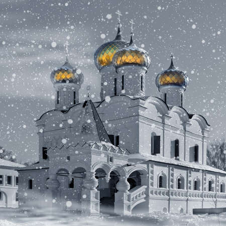 Christianity church in Russia, Kostroma city, Ipatievsky monastery in snowstorm photo