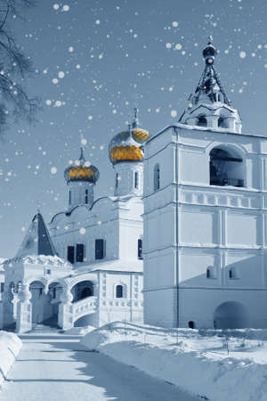 russian church: Christianity church in Russia, Kostroma city, Ipatievsky monastery in snowstorm Stock Photo