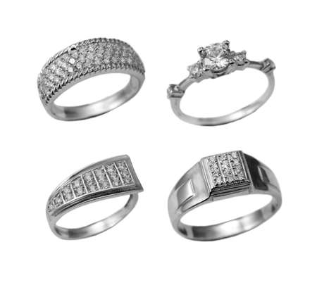 Set of jewelry rings isolated over white background photo