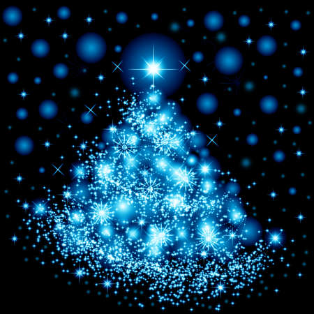 Christmas tree with snowflakes for card and other design Stock Photo - 8443516