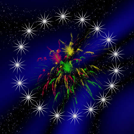Abstraction dark blue background with white firework and stars photo