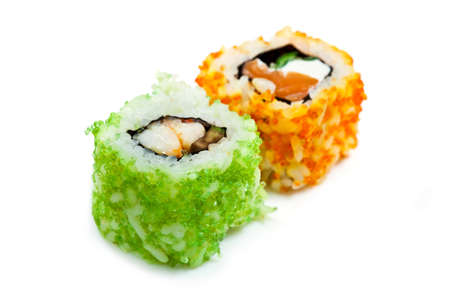asian produce: East cooking - rolls of fish, roe and rice  Stock Photo