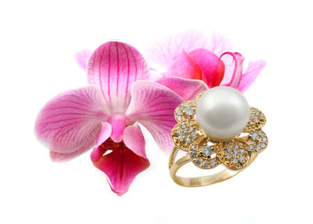 jewelle: Elegant female jewelry ring with  with flowers orchids Stock Photo