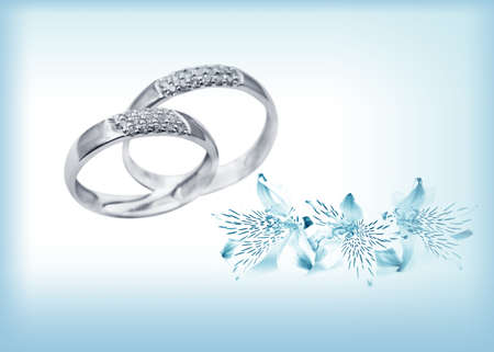 golden ring: Elegant jewelry  rings  with brilliants and flowers Stock Photo