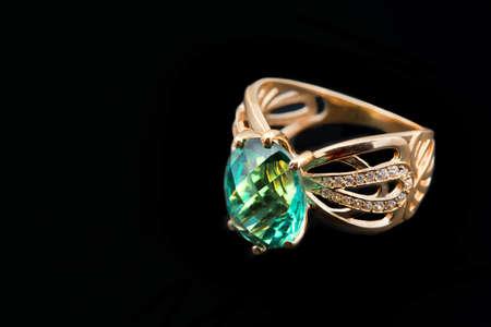 emerald: Elegant female jewelry ring with jewel stone