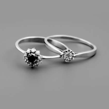 Celebratory accessories - two rings for wedding day and card photo