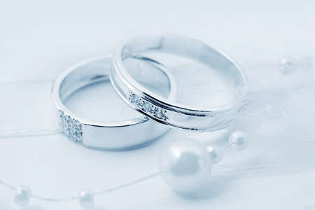 platinum metal: Celebratory accessories - two rings for wedding day and card