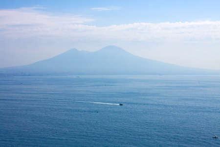 Bay of italian city Naples, sea and  island Capri photo