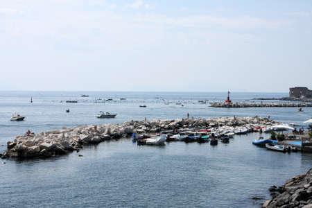 Bay of italian city Naples, sea and cityscape photo