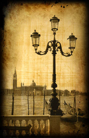 history architecture: Retro card with architecture on grungy paper, old italian Venice