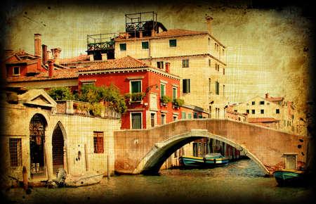 Scheda retrò con architettura su carta sgangherata, vecchio italiano Venezia