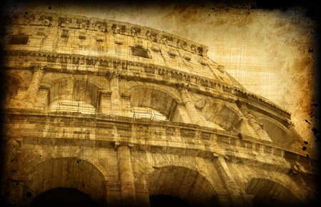 roma: Retro card with italian architecture on grungy paper, old Roma