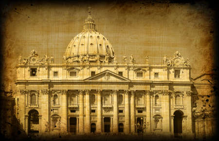 roma: Retro card with architecture on grungy paper, old  Roma, Vatican, cathedral of st Petr