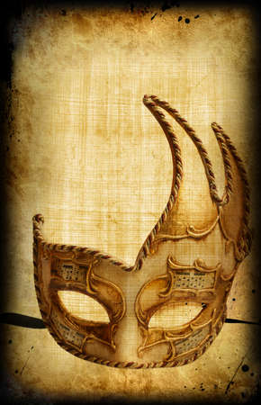venetian: Retro postcard with venetian golden carnaval mask Stock Photo