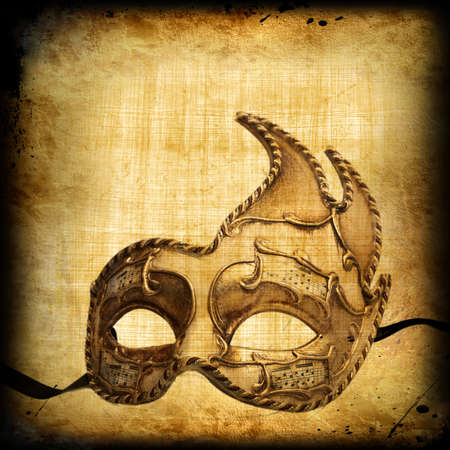 paper mask: Retro postcard with venetian golden carnaval mask Stock Photo