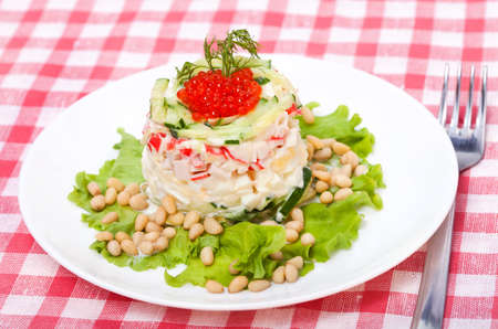cuisines: Salad of  crab  with red caviar