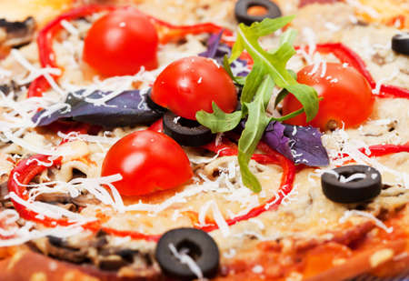 foodie: Food - plate with italian  pizza  with tomatoes close-up