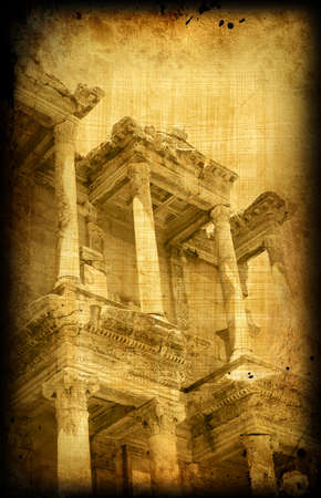 edifice: Ancient card with architecture on grungy paper, Greece  building, Ephesus Stock Photo