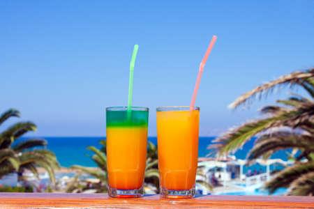 Beach on a Crete, the Greek island, drinks Stock Photo - 9568973