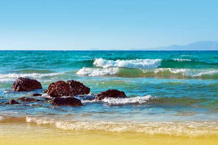 Landschap, zee op een Kreta, het Griekse eiland   Stockfoto