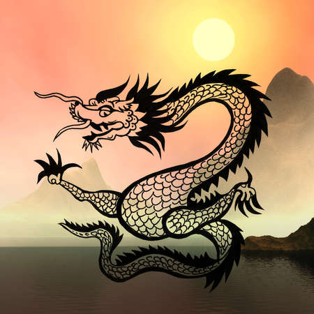 misty: East symbol 2012 year - dragon on sunny abstract Stock Photo