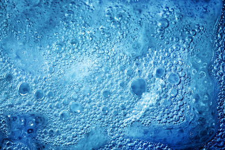 refreshed: Nice blue water texture close up , bubbles Stock Photo