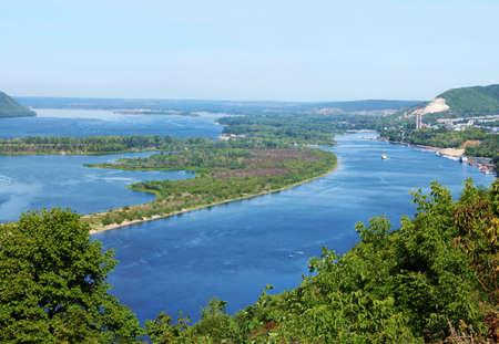 the volga river: Beautiful nature, panoramic scenery.  Rivers of Russia - Volga in Samara Stock Photo