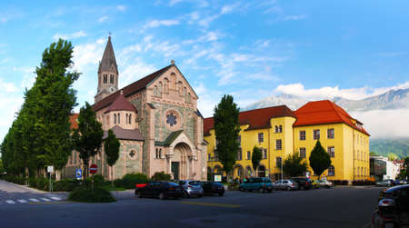 Cathedral in the city of Innsbruck, Austria.  Tyrol, the Alps. Panoramic scenery