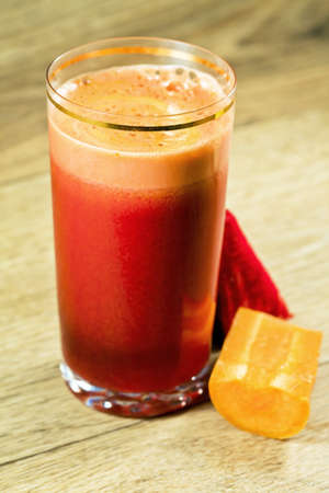 Vegetable juice of beet and carrot with vitamins photo