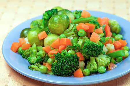 Boiled various vegetables for dietic food 스톡 콘텐츠