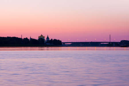 Beautiful scenery,  pink sunrise on a Volga river, Kostroma, Ipatievsky monastery photo