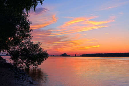 Beautiful nature, panoramic scenery.  Small River and sunset