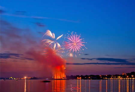 salvoes:   firework in a night sky