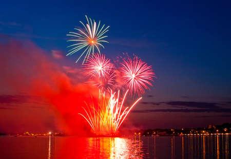 the volga river:   firework in a night sky