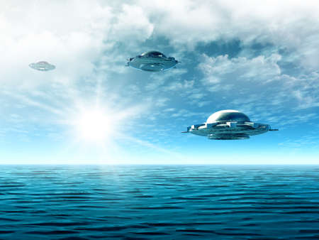 Fantastic cloudy landscape with UFO and ocean. Illustration Imagens